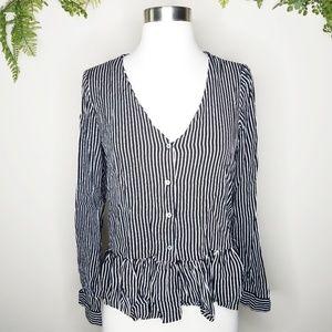 Zara striped button down peplum long sleeve top